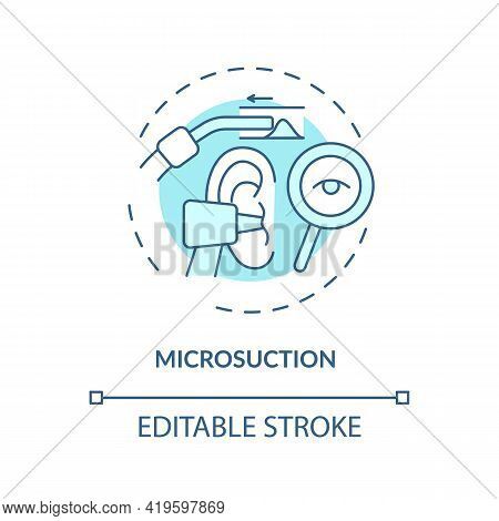 Microsuction Concept Icon. Ear Hygiene Method Idea Thin Line Illustration. Earwax Removal. Using Mic