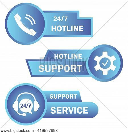 Help And Support Hotline Buttons. Online Technical Support. Concept Illustration For Assistance, Cal
