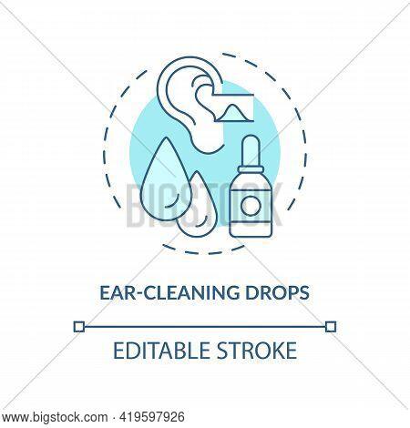 Ear-cleaning Drops Concept Icon. Ear Hygiene Method Idea Thin Line Illustration. Irrigating Ears. Ho