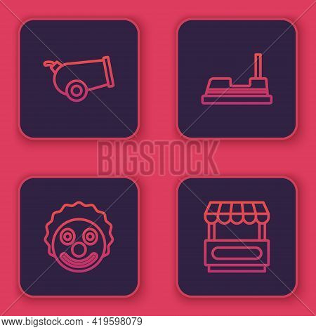 Set Line Cannon, Clown Head, Bumper Car And Fast Street Food Cart. Blue Square Button. Vector