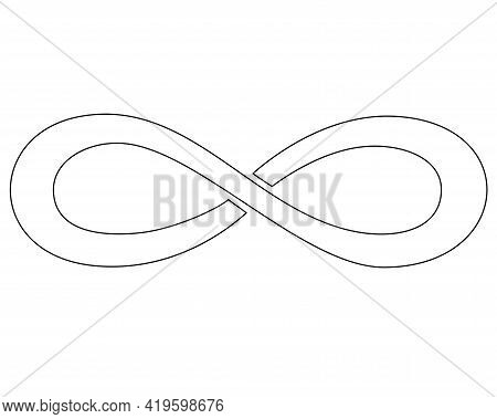 Infinity Sign - Vector Linear Picture For Coloring Book, Logo Or Pictogram. Infinity Symbol Is A Sig
