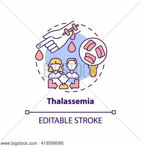 Thalassemia Concept Icon. Blood Disorder. Inherited Illness. Hereditary Sickness. Genetic Disease Id