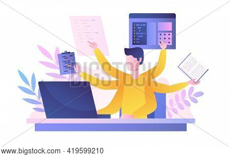 Businessman With Multitasking Skills Sitting At His Laptop And Working. Freelancer Or Office Worker.