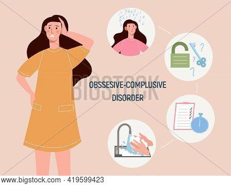 Ocd. Obsessive Compulsive Disorder. A Woman Suffering From Obsessive Compulsive Disorder. Mental Hea