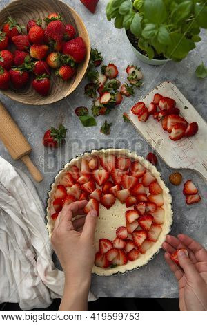 Cooking Processes Of Strawberries Tart, Pie Healthy Vegan Dessert