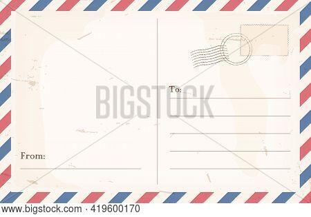 Empty Vintage Postcard Back.  Postage Stamp. Vintage Travel Card Design. Vector Stock