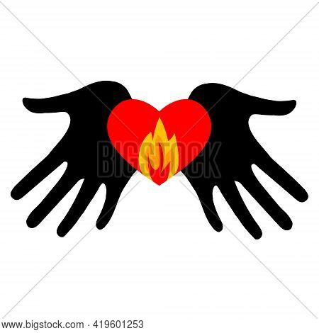 Burning Heart In The Palms Of Your Hands. Memorial Day International Holocaust Remembrance Day On Th