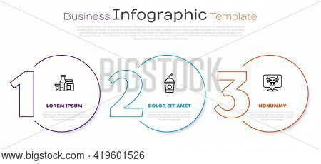Set Line Milk Product, Milkshake And Cow Head. Business Infographic Template. Vector