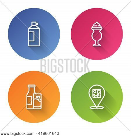 Set Line Whipped Cream In Bottle, Milkshake, Bottle Milk And Glass And Cheese. Color Circle Button.