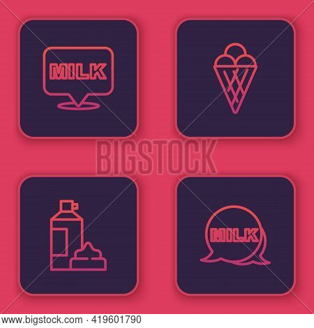 Set Line Lettering Milk, Whipped Cream Bottle, Ice Waffle Cone And . Blue Square Button. Vector