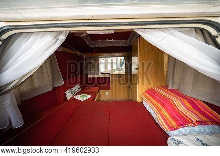 Olsztyn, Poland - May 6, 2021 - Old Caravan That Drove On The Olsztyn Route