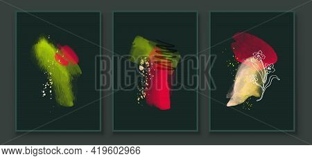 Green And Red Abstract Watercolor Compositions. Set Of Vivid Color Painting Wall Screen Art Decorati