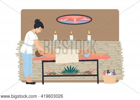 Masseur Woman Doing Massage To The Man, Massage Table And Cabinet In The Spa Beauty Salon. Vector Il