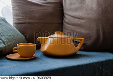 Ceramic Teapot With Cups. Modern Teapot. Tea Brewing. Kitchen Accessories. Bright Photo. Ceramic Tea