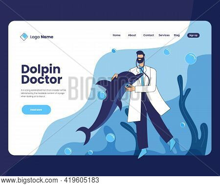 Doctor With Dolphin Vector Illustration Concept, Doctor With Dolphin Landing Page Design