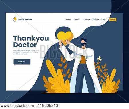 Thank You Doctor Vector Illustration Concept, Thank You Doctor Landing Page Design Template