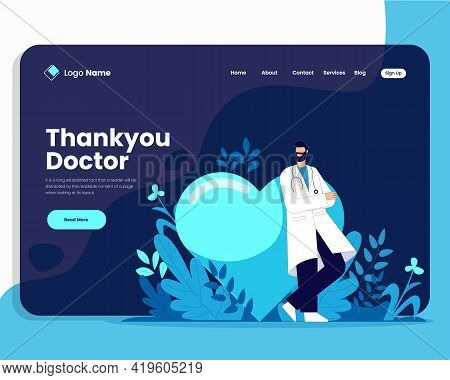Thank You Doctor Vector Illustration Concept, Thank You Doctor Landing Page Design