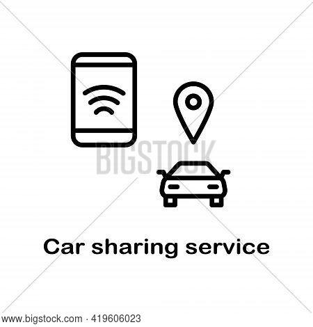 Car Sharing Flat Line Icons Set. Collaborative Consumption, Car Rental Service. Simple Flat Vector I