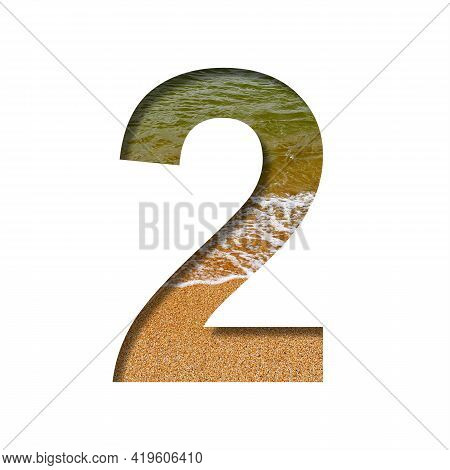 Sea Shore Font. The Digit Two, 2 Cut Out Of Paper On A Background Of The Beach Of Seashore With Coar