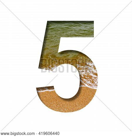 Sea Shore Font. The Digit Five, 5 Cut Out Of Paper On A Background Of The Beach Of Seashore With Coa