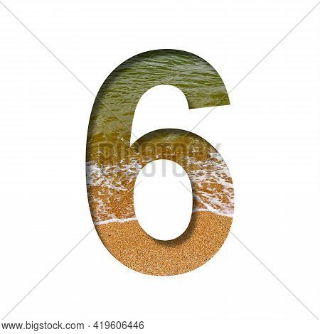 Sea Shore Font. The Digit Six, 6 Cut Out Of Paper On A Background Of The Beach Of Seashore With Coar