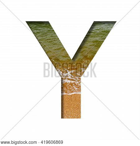 Sea Shore Font. The Letter Y Cut Out Of Paper On A Background Of The Beach Of Seashore With Coarse S