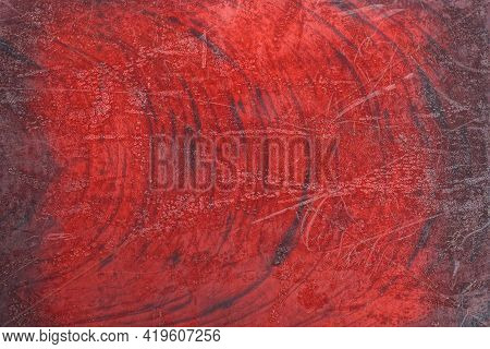 Red Black Plastic Texture From A Transparent Shabby Cap