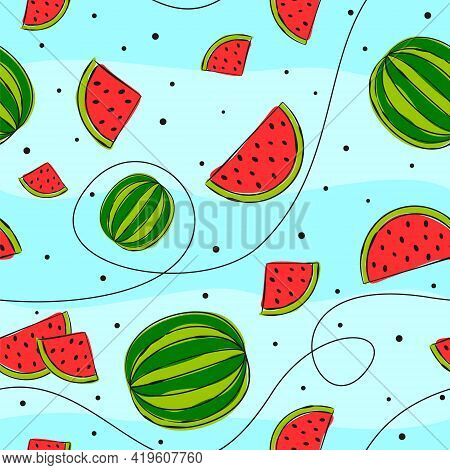 Seamless Vector Pattern With Hand Drawn Watermelons. Bright Green And Red Slices Of Watermelons On A