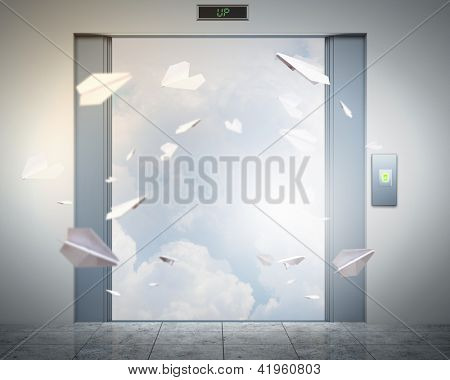 the elevator doors and the natural landscape behind them poster