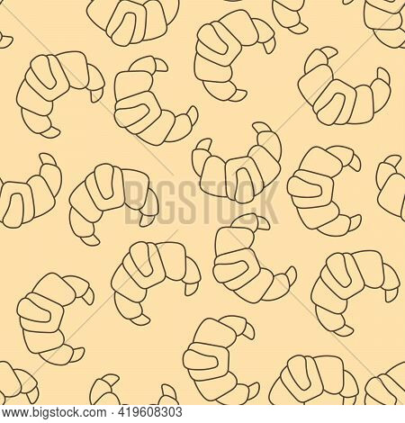Croissants Seamless Background. Vector Illustration For Packaging, Cafe Or Bakery.