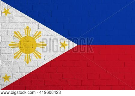 Flag Of Philippines. Brick Wall Texture Of The Flag Of Philippines.