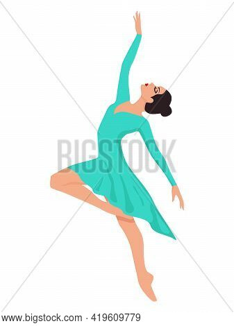 Beautiful Lady Dancer In Turquoise Dress, Hand Drawing Vector, Isolated On The White Background