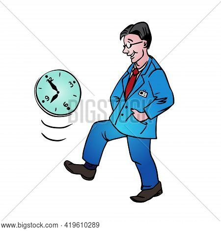 Procrastination Businessman Which Delay His Work For Later.