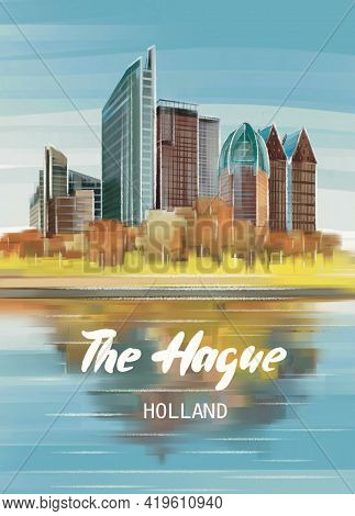 Summer Cityscape The Hague, Netherlands. Handmade Drawing Illustration, Poster, Postcard. Square Ple