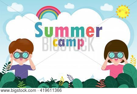 Cute Little Boy And Girl Watching Something Through Binoculars In The Forest. Children Have Summer O