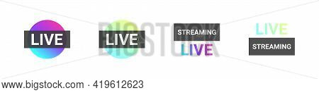 Live Stories Video Streaming Icons. Video Broadcasting And Live Streaming Icons Concept. Vector Illu