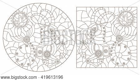 Set Of Contour Illustrations In The Style Of Stained Glass With Steam Punk Signs Of The Zodiac Capri