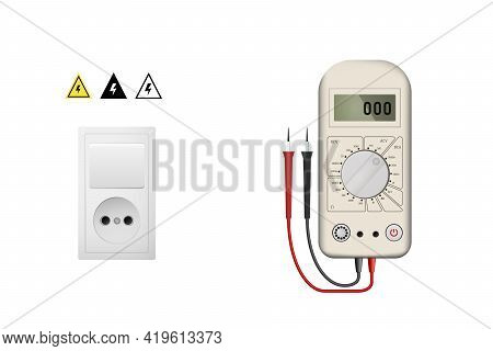 Realistic White Multimeter For Measuring Current And Voltage.