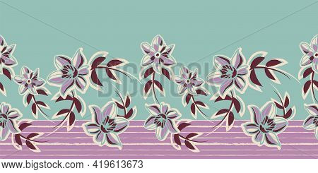 Vector Violet Mint Floral Striped Seamless Pattern