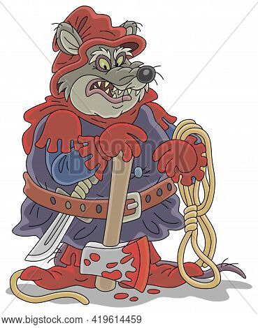 Malicious And Pitiless Fat Rat Executioner With An Ax And A Rope Preparing For Penalty, Vector Carto