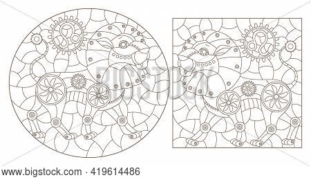 Set Of Contour Illustrations In The Style Of Stained Glass With Steam Punk Signs Of The Zodiac Leo,