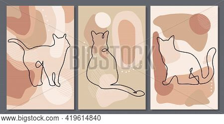 Mid Century Art Posters. Continuous One Line Cats.feline In Different Poses. Abstract Freehand Backg