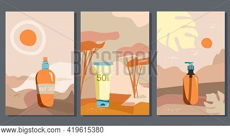 Sunscreen Gel,block Spray, Tanning Oil.set Of Abstract Landscapes With Uv Cosmetics For Dermis Prote