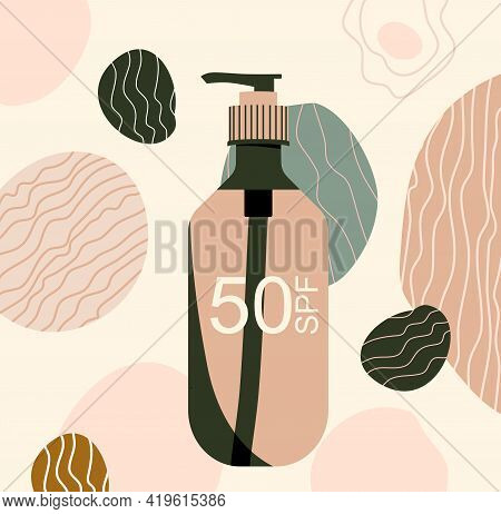 Sunscreen Gel Or Block Spray, Tanning Oil.abstract Background With Uv Cosmetic For Dermis Protecting