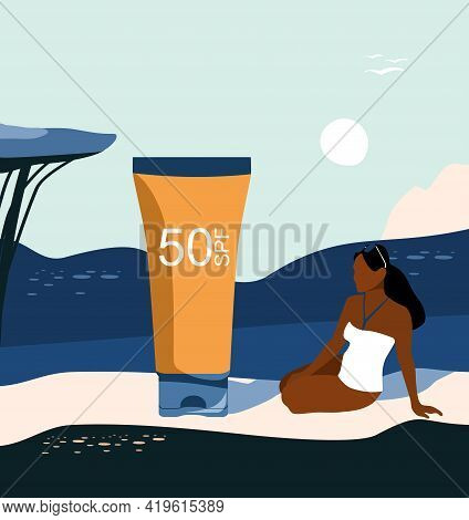 Woman Is Sunbathing In Swimsuit.uv Screen Gel Or Tanning Oil For Skin Protection.retro Summer Abstra