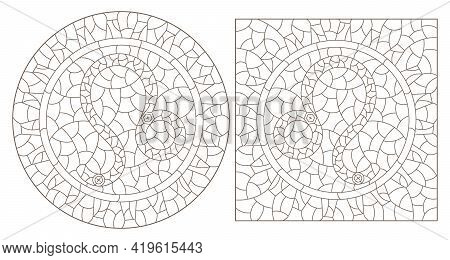 Set Of Contour Illustrations In The Style Of Stained Glass With The Signs Of The Zodiac Leo, Dark Co