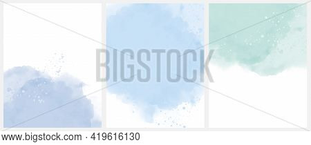 Set Of 3 Delicate Abstract Watercolor Style Vector Layouts. Light Mint Green And Blue Paint Stains O