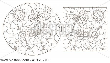 Set Of Contour Illustrations In The Style Of Stained Glass With Steam Punk Signs Of The Zodiac Aries
