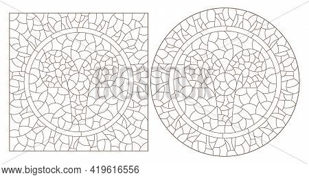 Set Of Contour Illustrations In The Style Of Stained Glass With The Signs Of The Zodiac Aries, Dark