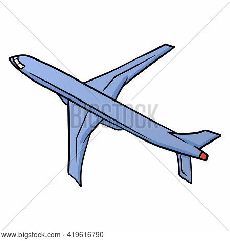 Transport. Airplane For Pallet Travel And Leisure. Blue Plane. Cartoon Style. For Design And Decorat